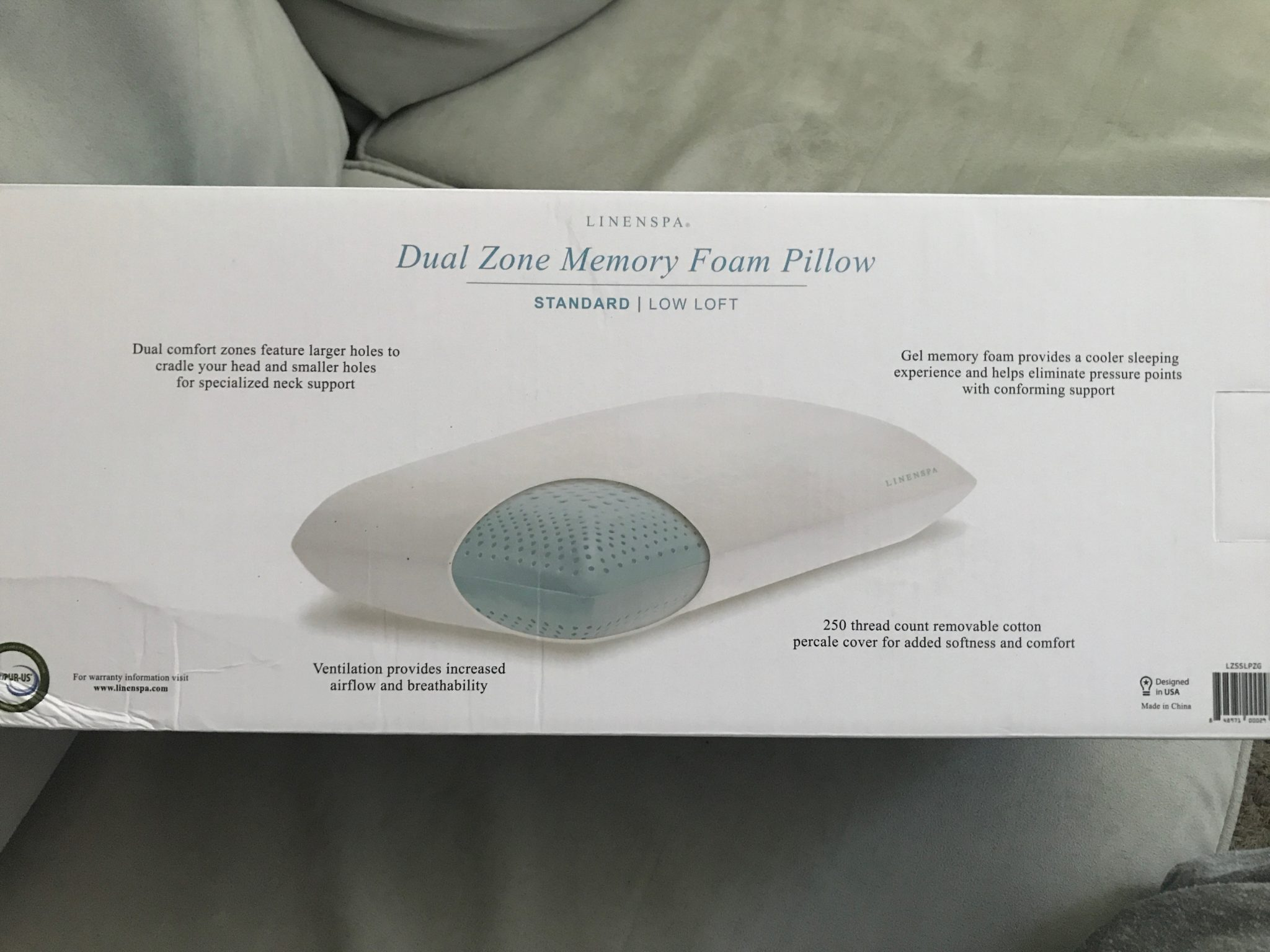 Linenspa Dual Zone Gel Memory Foam Pillow