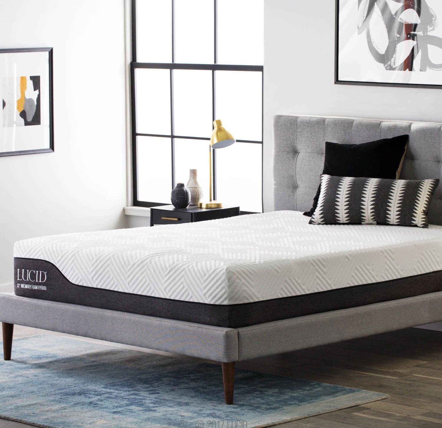 Lucid 12 Inch Hybrid Mattress with Bamboo Charcoal and Aloe Vera Infused Memory Foam