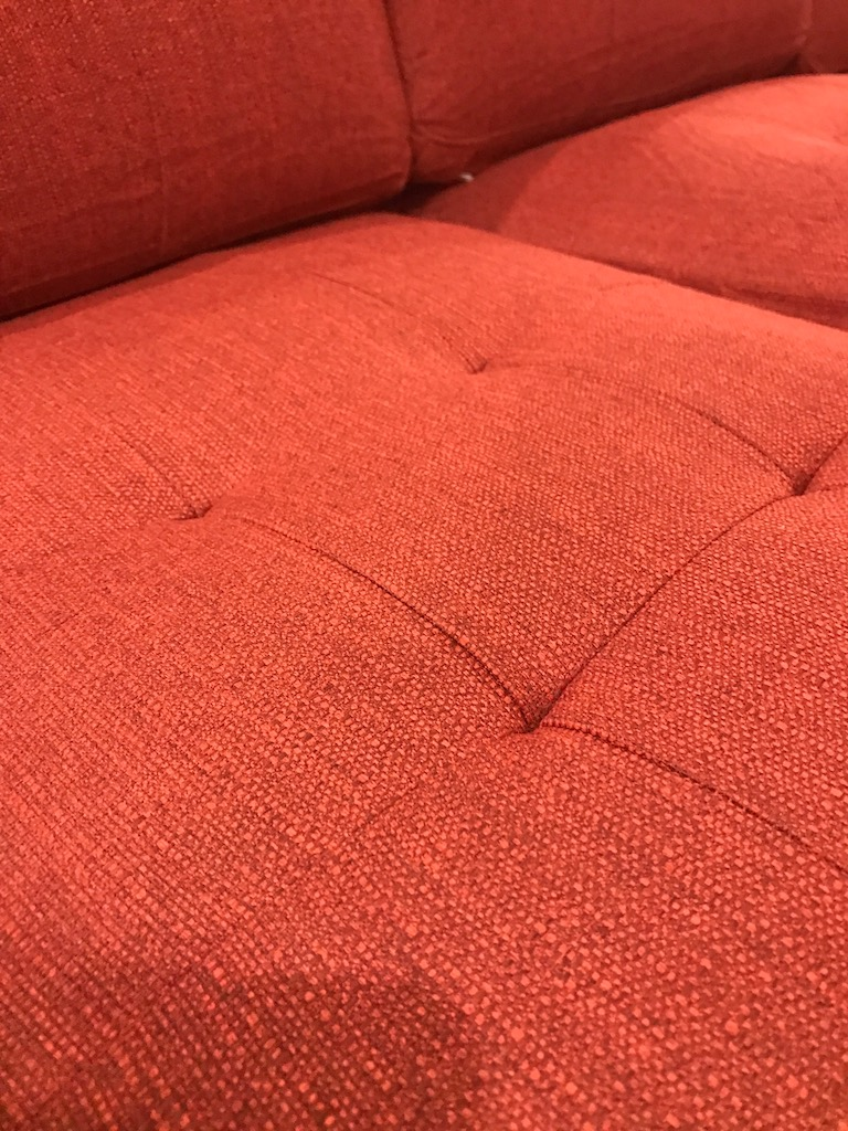 Close up of the Burrow Couch showing limited wear and tear after two years real home use