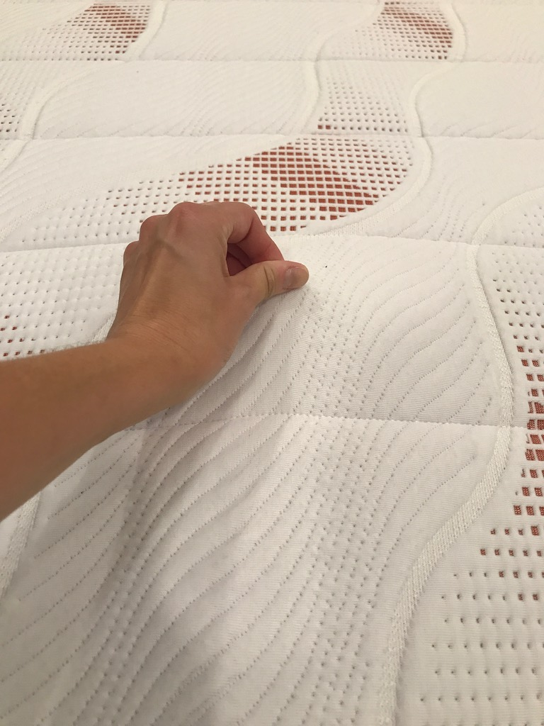 Pangea Mattress soft cover and excellent stitching detail over Talalay latex