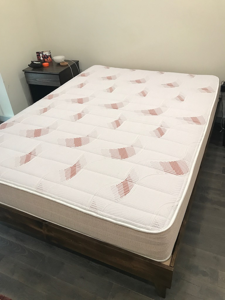 Pangea Mattress testing and review in process. Shown after unboxing and ready for testing