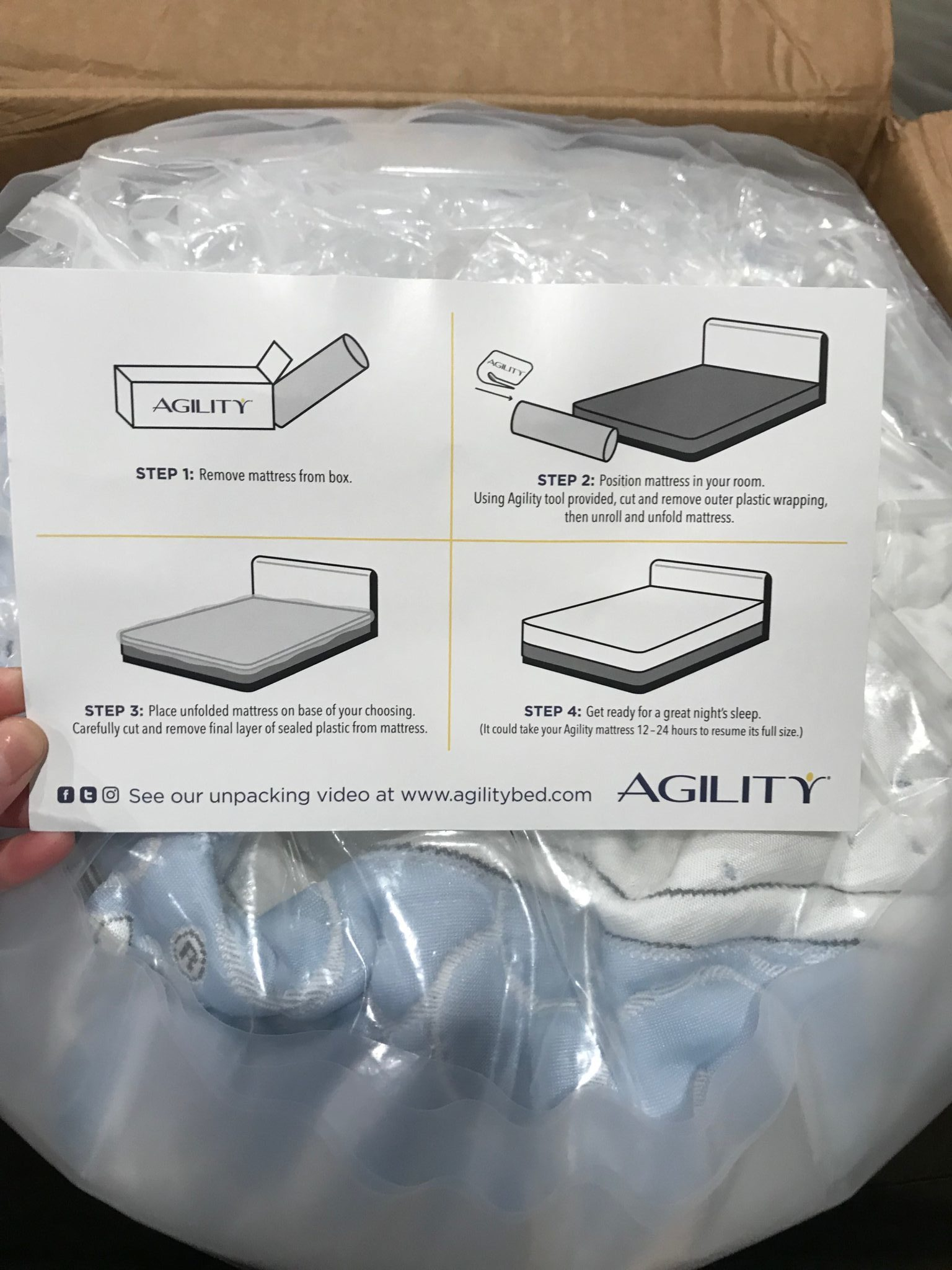 In home test, unboxing showing setup instructions for mattress review