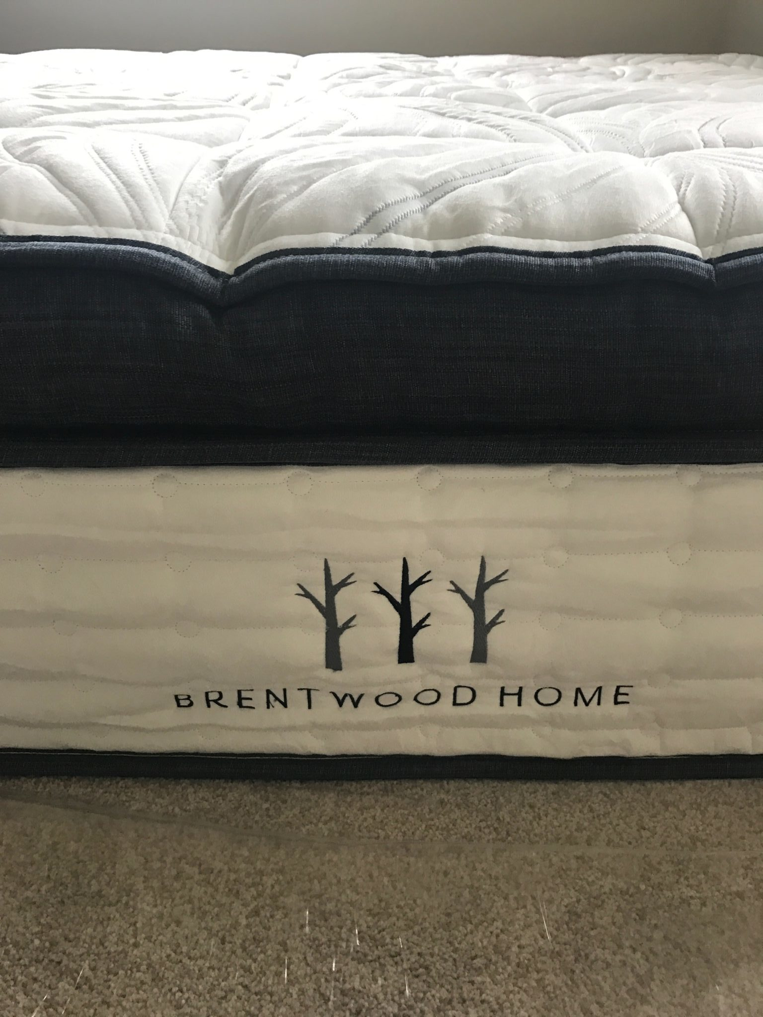 luxury hybrid mattress shown from the side with the stitching and side panel detail brentwood home oceano review
