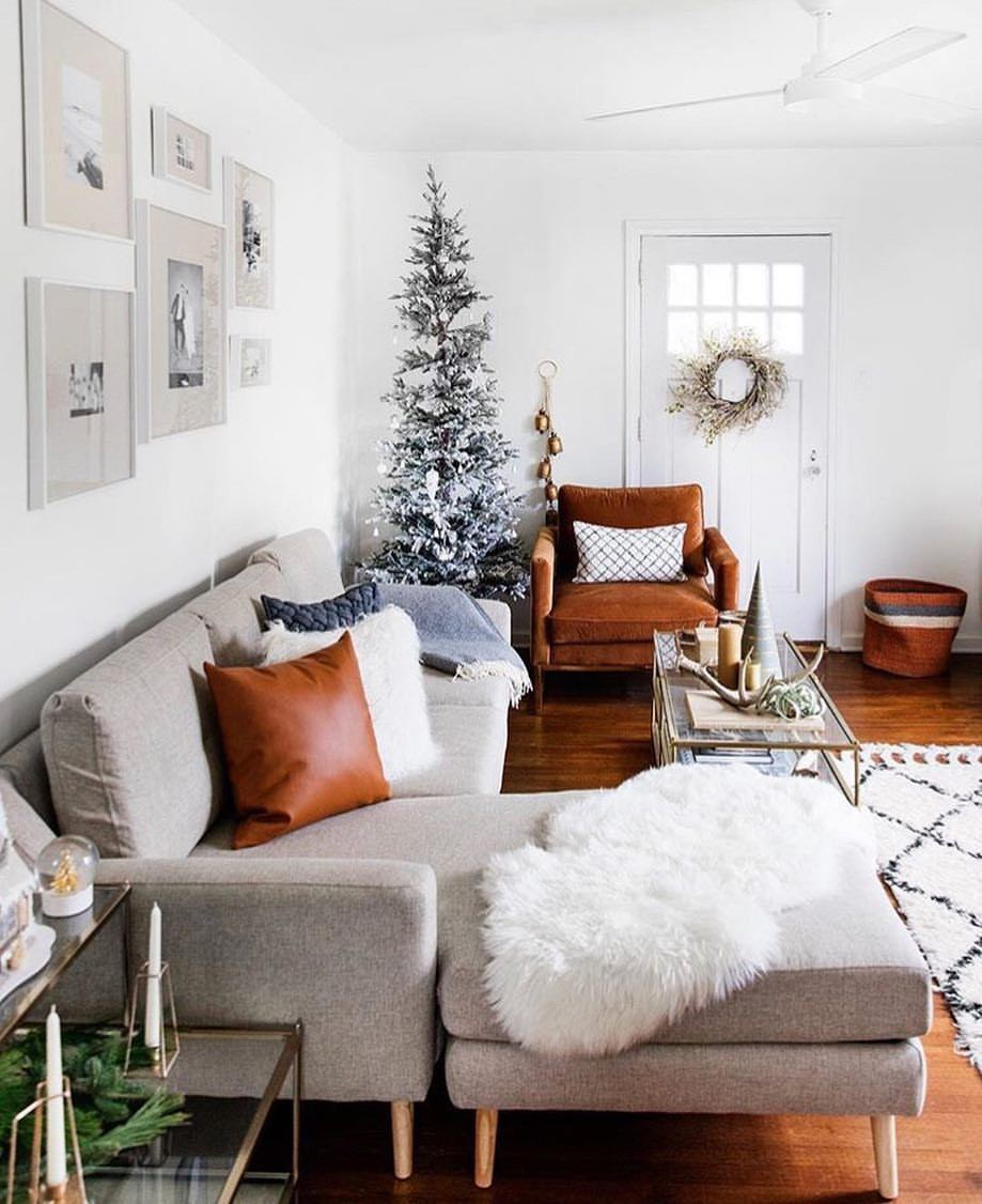 Burrow Pillows accent pillows with geometric shapes, faux leather and fur in a holiday setting