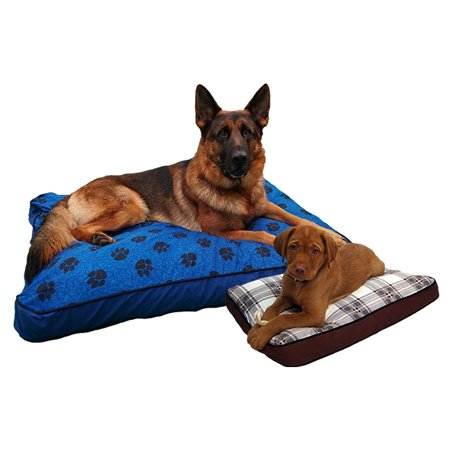 MyPillow 2020 testing showing dog beds for giant breed in blue and small breed bed in rustic brown