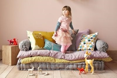 Floor pillow play area for small children